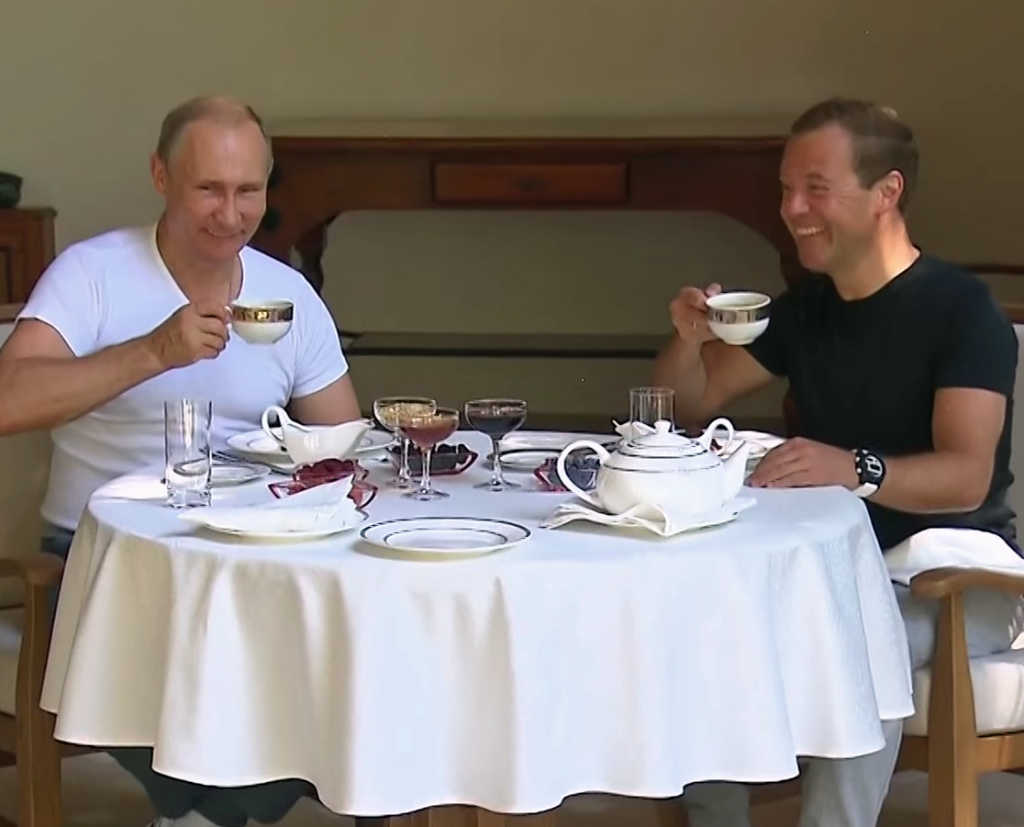 PUTIN AND MEDVEDEV DRINK TEA VIDEO COVER